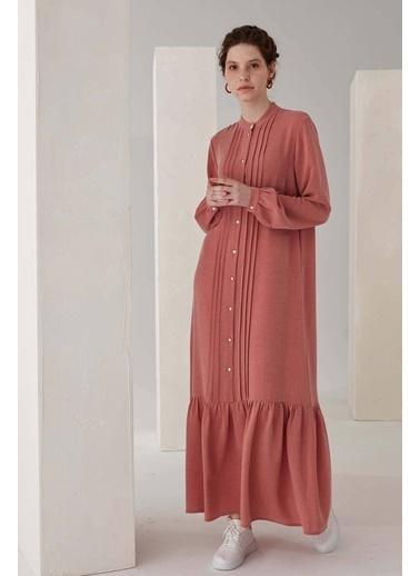 Vivencia Nervür Detaylı Kadın Elbise Gül Kurusu Kırmızı